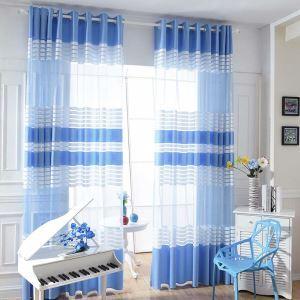 Modern Sheer Curtain Blue White Stripes Curtain Living Room Curtain (One Panel)