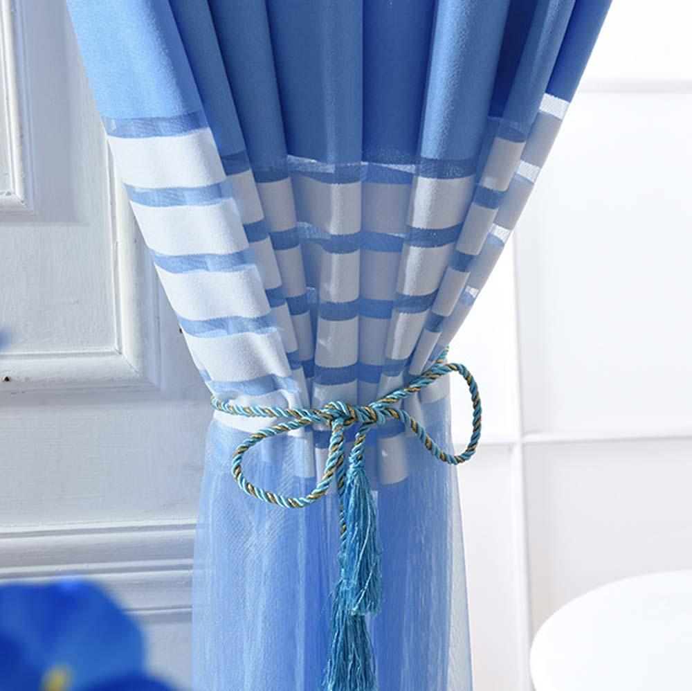 Modern Sheer Curtain Blue White Stripes