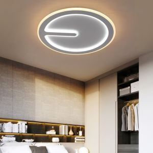 Iron + Acrylic Round Flush Mount Modern LED Flush Mount Bedroom Study Lighting