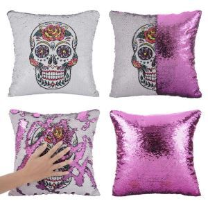 Halloween Pillow Cover Colorful Skull Head Pillow Case Sequin Velvet Cushion
