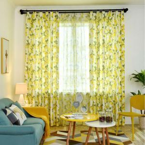 Fresh Semi Blackout Curtain Fruit Lemon Printed Curtain Living Room Curtain (One Panel)
