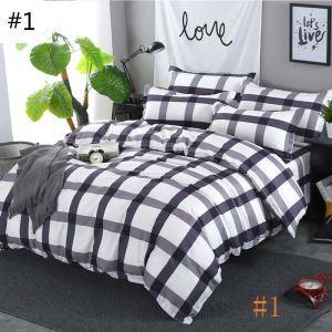 Modern Stylish Bedding Set Classical Checks Bedclothes Pure Cotton Soft 4pcs Duvet Cover Set