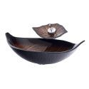 Retro Leaf Sink and Faucet Set Bathroom Counter Top Basin Waterfall Tap Vessel Sink BW09178