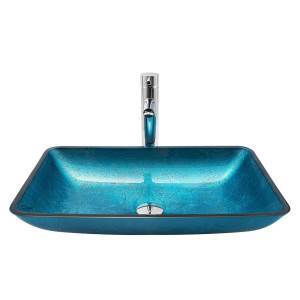 Blue Rectangle Sink and Faucet Set Tempered Glass Basin With/Without Tap Sink BWY15119