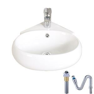 Modern Wall Mounted Single Sink Oval White Ceramic Basin Without Faucet