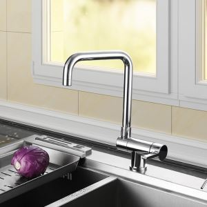 Modern Kitchen Faucet Chrome Rotatable Kitchen Tap With Water Switching Function