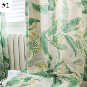 Country Sheer Curtain Green Breathable Printed Curtain Living Room Curtain (One Panel)