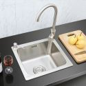 Small Single Bowl Sink for Kitchen Stainless Steel Drop In Sink S4237 Silver (Faucet Not Included)