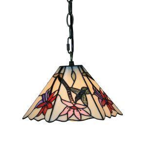 8inch European Pastoral Retro Style Pendant Light Hummingbirds Gathering Flowers Pattern Glass Shade Bedroom Living Room Kitchen Light