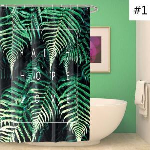 Waterproof Mouldproof Shower Curtain Modern Banana Leaves Printed Bath Curtain
