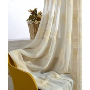 Japanese Sheer Curtain Breathable Embroidery Curtain Living Room Curtain (One Panel)