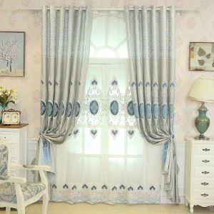 European Style Sheer Curtain Embroidery Sheer Curtain Living Room Bedroom Study Fabric(One Panel)
