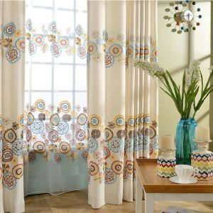 American Style Sheer Curtain Cotton Linen Embroidery Sheer Curtain Living Room Bedroom Study Fabric(One Panel)