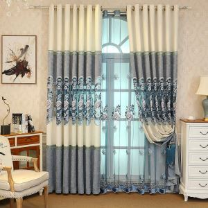 Chenille Embroidery Sheer Curtain Modern American Sheer Curtain Living Room Bedroom Study Fabric(One Panel)