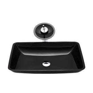 Tempered Glass Sink and Faucet Set Black Rectangle Bathroom Basin Waterfall Tap Sink BWY19052