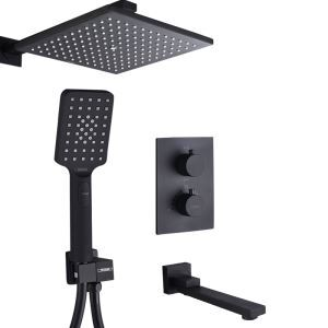 Thermostatic Shower Faucet Baking Vanish In-Wall Black Bathroom Shower Faucet