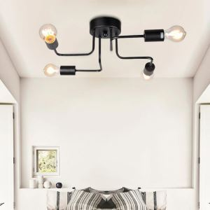Creative Black Flush Mount Simple Nordic 4-lights Flush Mount Bedroom Dining Room Lighting
