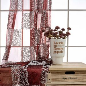 Breathable Sheer Curtain Check Embroidery Curtain Living Room Curtain (One Panel)