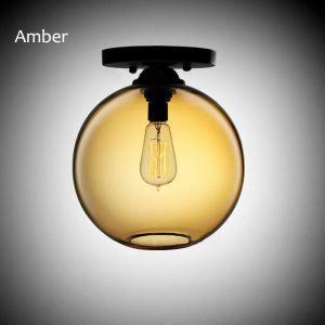 Modern Flush Mount Creative Glass Ceiling Light Fishbowl Shape Lamp Hallway Restaurant Dining Room Light