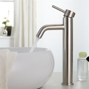 Nickel Brushed Sink Faucet Solid Brass Bathroom Tap (Tall)