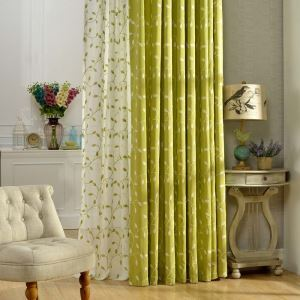 Rural Semi Blackout Curtain Leaf Embroidery Curtain Living Room Curtain (One Panel)