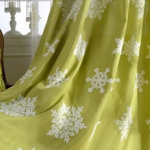 Modern Semi Blackout Curtain  Snowflake Embroidery Curtain Living Room Curtain (One Panel)