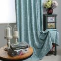 Country Semi Blackout Curtain Flower Embroidery Curtain Bedroom Curtain (One Panel)