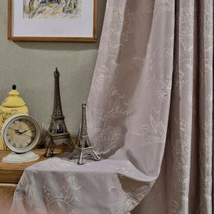 Retro Semi Blackout Curtain Precision Jacquard Curtain Living Room Curtain (One Panel)