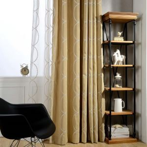 Modern Semi Blackout Curtain Simple Embroidery Curtain Living Room Bedroom Curtain (One Panel)