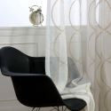 Modern Breathable Sheer Curtain 8 Shape Embroidery Curtain Living Room Curtain (One Panel)
