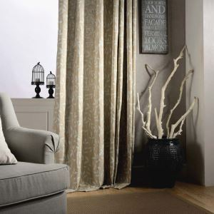Modern Semi Blackout Curtain Leaf Embroidery Curtain Living Room Bedroom Curtain (One Panel)