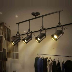 Industrial Retro Style Stoving Varnish Long Fixture Spot Light 4-light