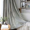 Modern Semi Blackout Curtain Poplar Pattern Embroidery Curtain Bedroom Curtain (One Panel)