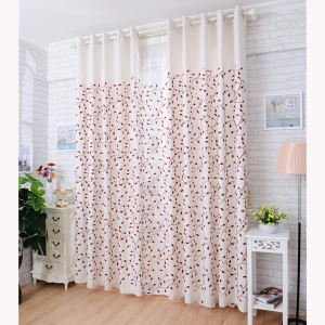 Country Semi Blackout Curtain Leaf Pattern Embroidery Curtain Living Room Curtain (One Panel)