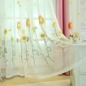 Breathable Sheer Curtain Sunflower Embroidery Curtain Living Room Curtain (One Panel)