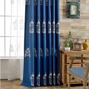 Blue Semi Blackout Curtain Bird Cage Embroidery Curtain Living Room Curtain (One Panel)