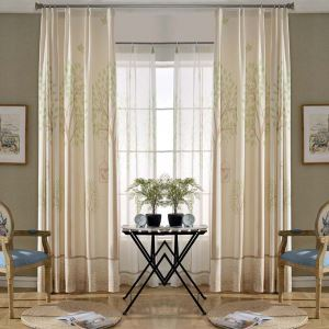 Modern Semi Blackout Curtain Tree Printed Curtain Living Room Curtain (One Panel)