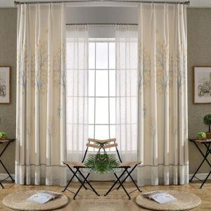 Rural Semi Blackout Curtain Tree Bird Printed Curtain Living Room Curtain (One Panel)