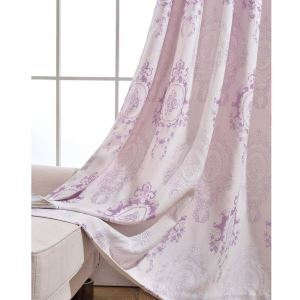 Retro Semi Blackout Curtain Mirror Flower Jacquard Curtain Living Room Curtain (One Panel)