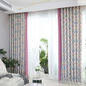 Modern Semi Blackout Curtain Geometric Printed Curtain Living Room Curtain (One Panel)