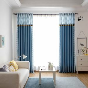 Nordic Style Ready Made Curtain Wavy Splice Curtain Living Room Bedroom Curtain (Two Panels)