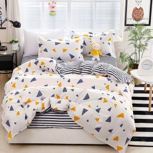 Triangle Pattern Bedding Set Pure Cotton Fresh 4pcs Duvet Cover Set Skin-friendly Soft Bedclothes