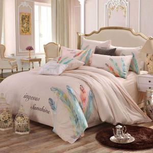 Modern Simple Bedding Set Soft Skin-friendly Bedclothes Feather Embroidery 4pcs Duvet Cover Set