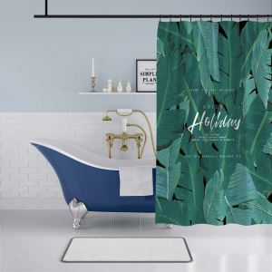 Modern Nordic Shower Curtain Banana Leaf  3D Printed Bath Curtain Waterproof Mouldproof Curtain