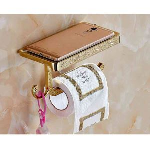 Modern Simple Style Bathroom Products Bathroom Accessories Copper Art Carving Pattern Mobile Phone Toilet Roll Holders(Three Types)