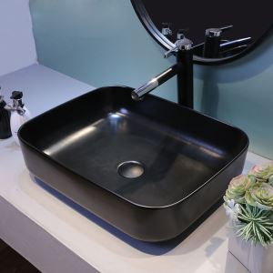 Simple Black Basin Modern Rectangle Bathroom Vessel Sink(without Faucet)
