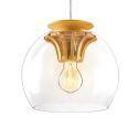 Hand Blown Glass Pendant Light Wood Fixture Hanging Light New Design (in Stock)