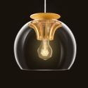 Hand Blown Glass Pendant Light Wood Fixture Hanging Light New Design (in Stock)