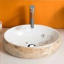 Modern Simple Ceramic Sink Marble Texture Pattern Sink Oval 48cm (Without Faucet)