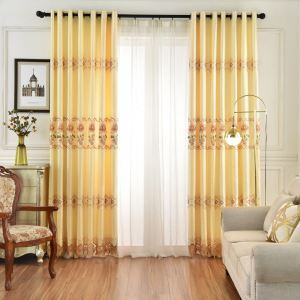 Semi Blackout Curtain Daffodil Hollow Embroidery Curtain Living Room Curtain Yellow (One Panel)